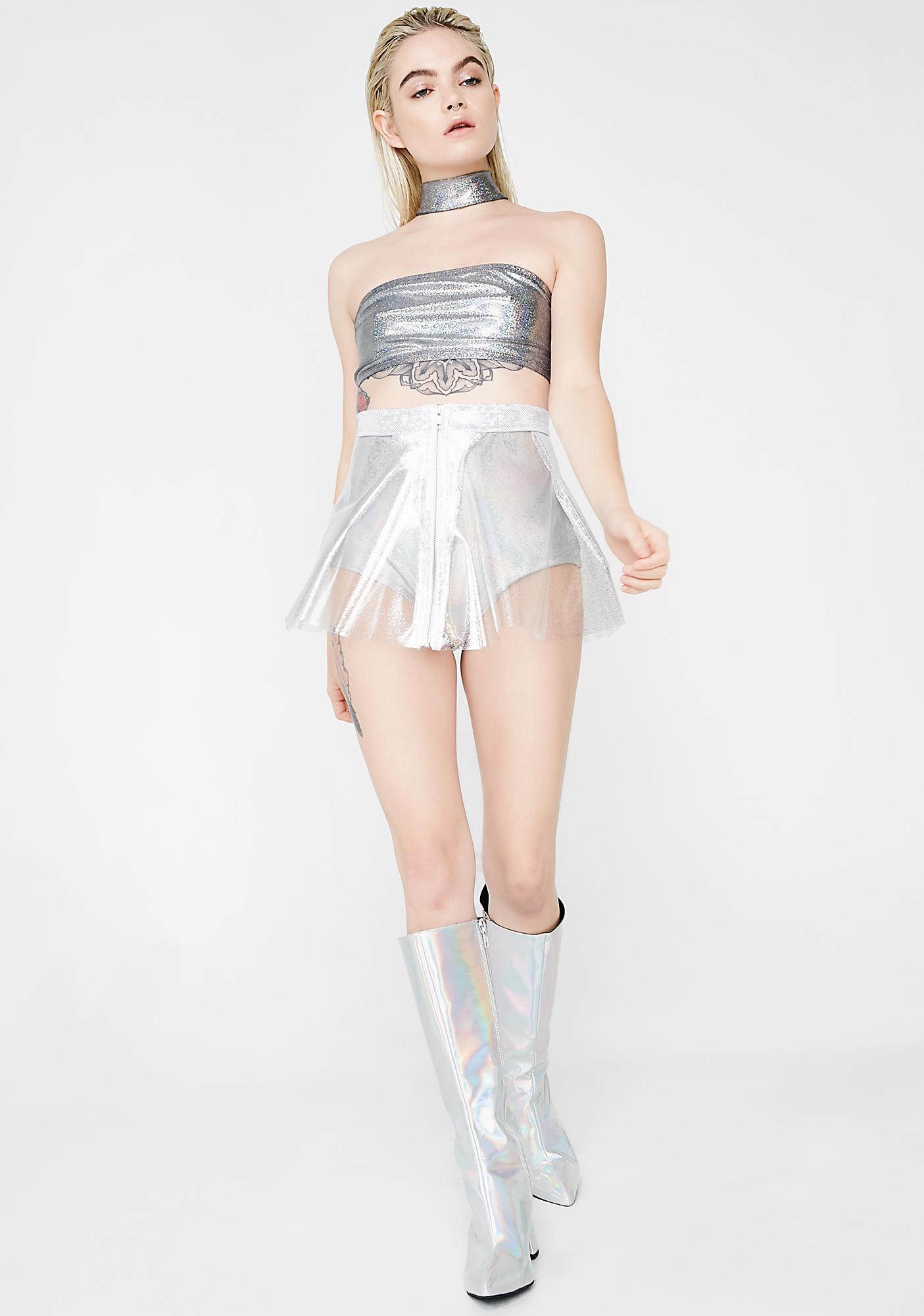 J Valentine Sparkle Clear Vinyl Skirt