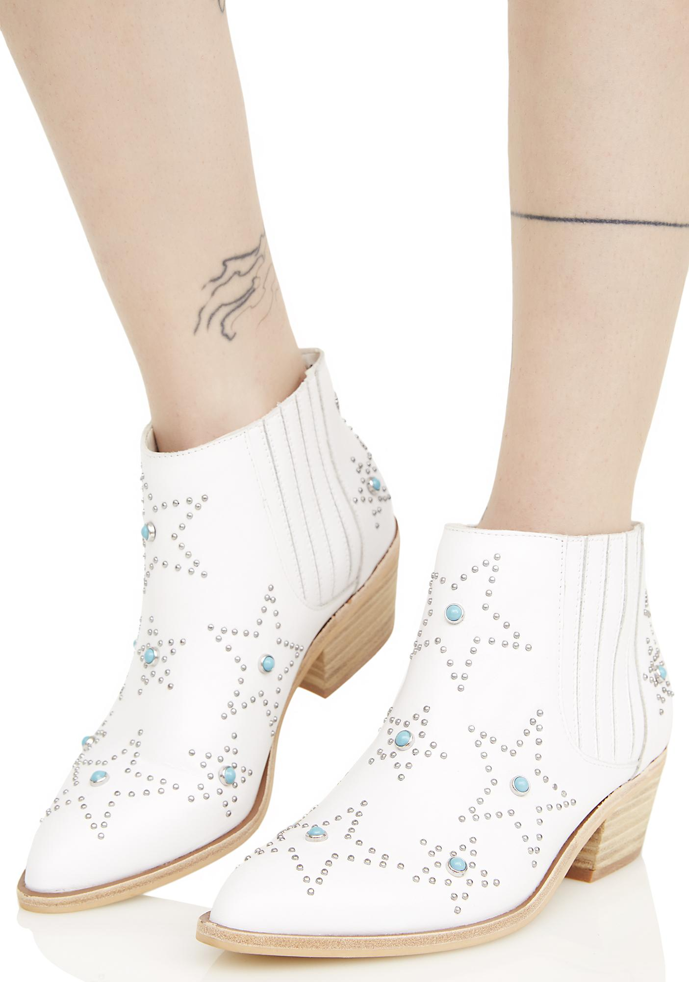 Chinese Laundry White Leather Star Ankle Boots