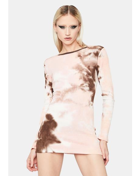Twisted Fusion Pointelle Tie Dye Mini Dress