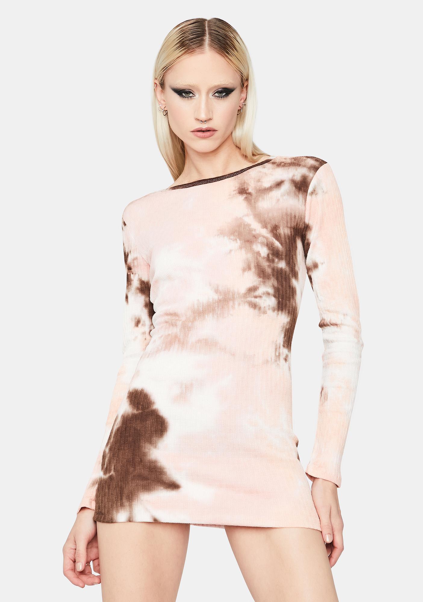 Twisted Fusion Pointelle Tie Dye Mini Dress