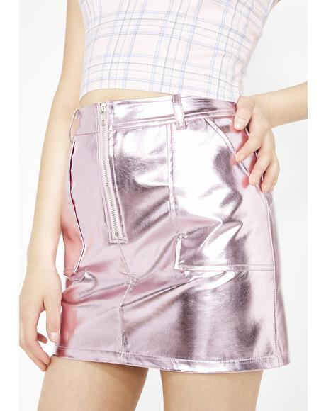 Material Gurl Metallic Skirt
