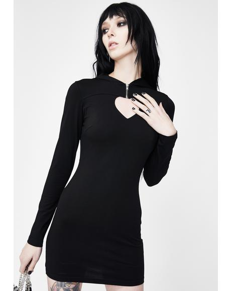Hollow Heart Cut Out Hooded Dress