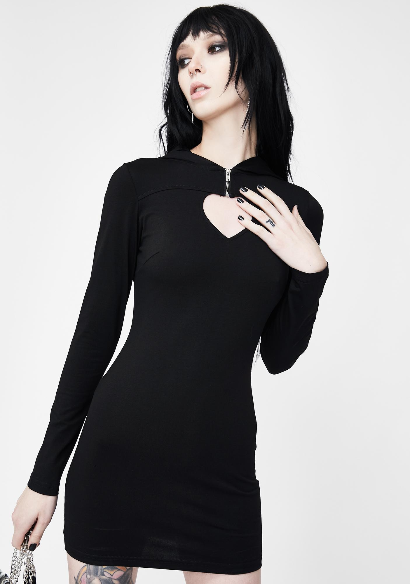 Punk Rave Hollow Heart Cut Out Hooded Dress