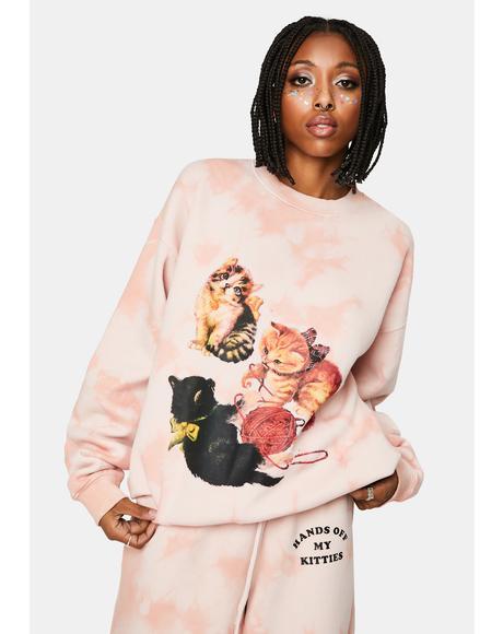 Kitten Peach Tie Dye Sweatshirt