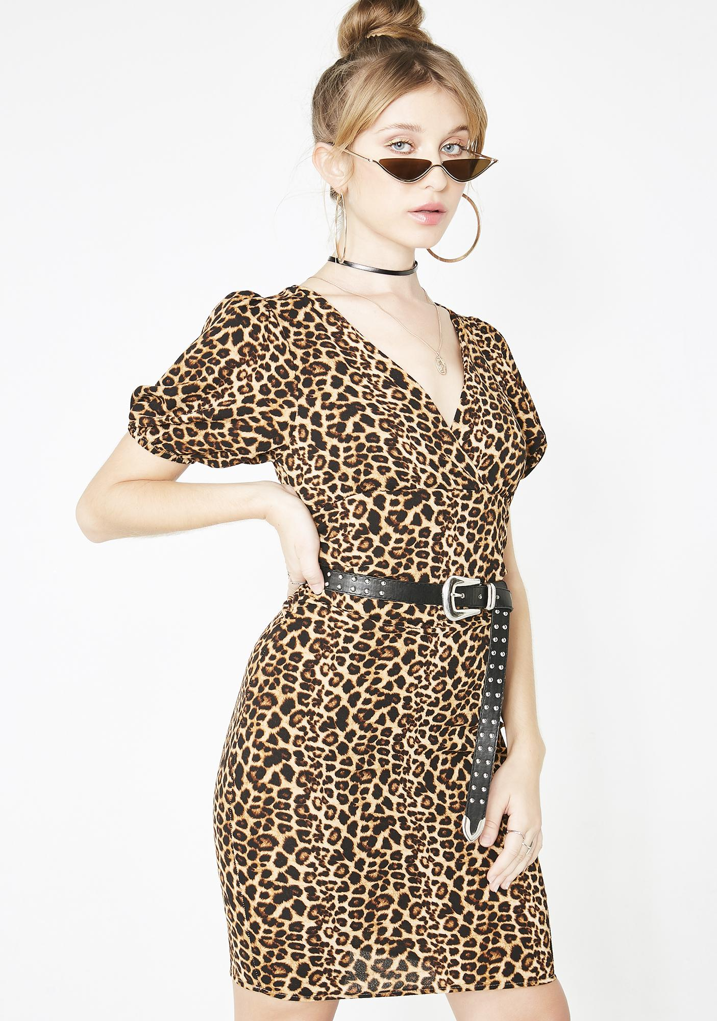 57dc523da2a7 Leopard Plunging Bodycon Mini Dress | Dolls Kill