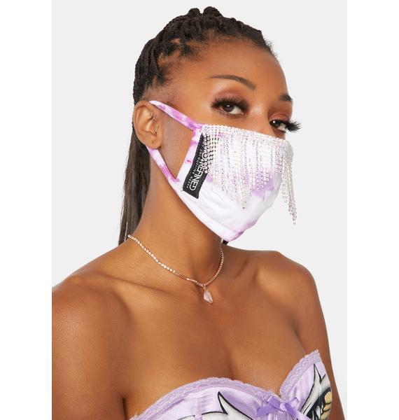 Rad + Refined Purple Tie Dye Disco Rhinestone Face Mask