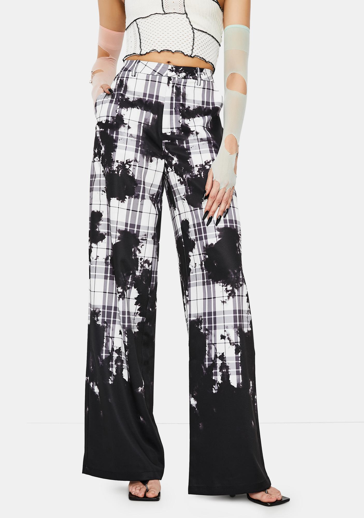 Jaded London Bleach Check Relaxed Wide Leg Trousers