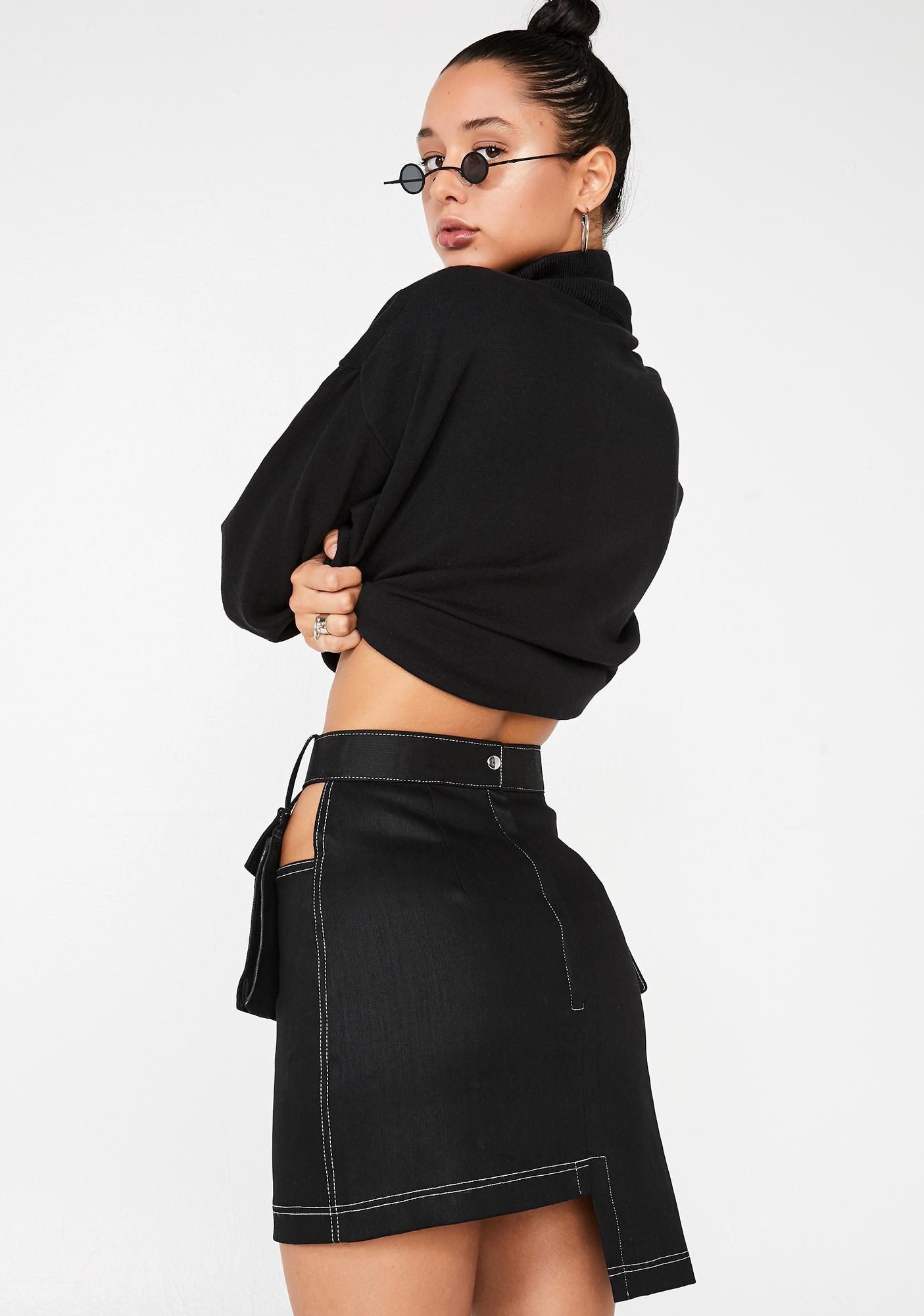 Stuck on Stupid Black Belt Bag Denim Skirt
