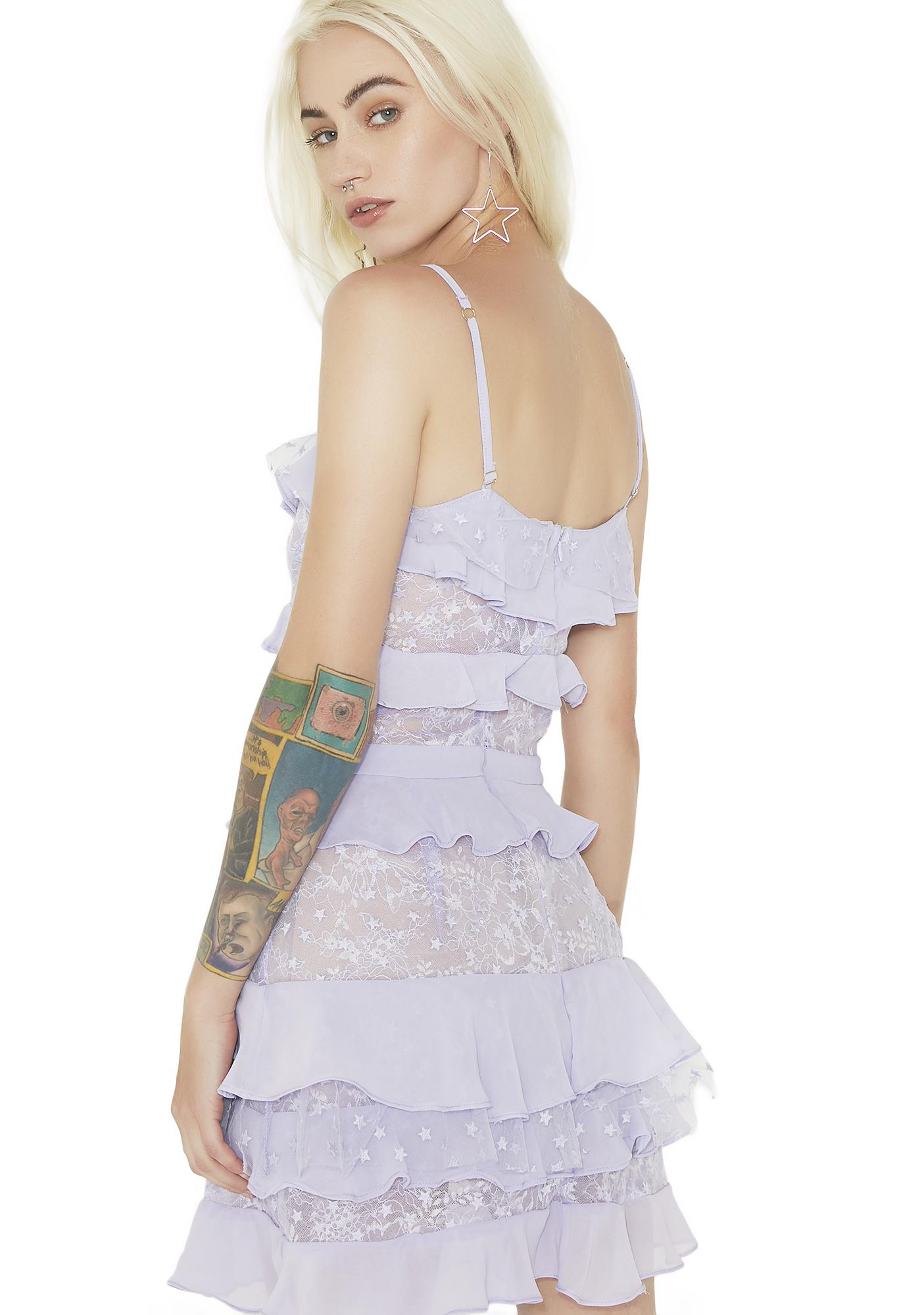 For Love & Lemons Lilac Cosmic Tiered Lace Dress