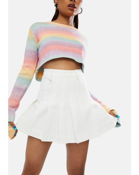 Cutie Confessions Pleated Denim Skirt