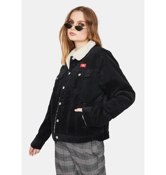 Dickies Girl Black Sherpa Lined Corduroy Jacket