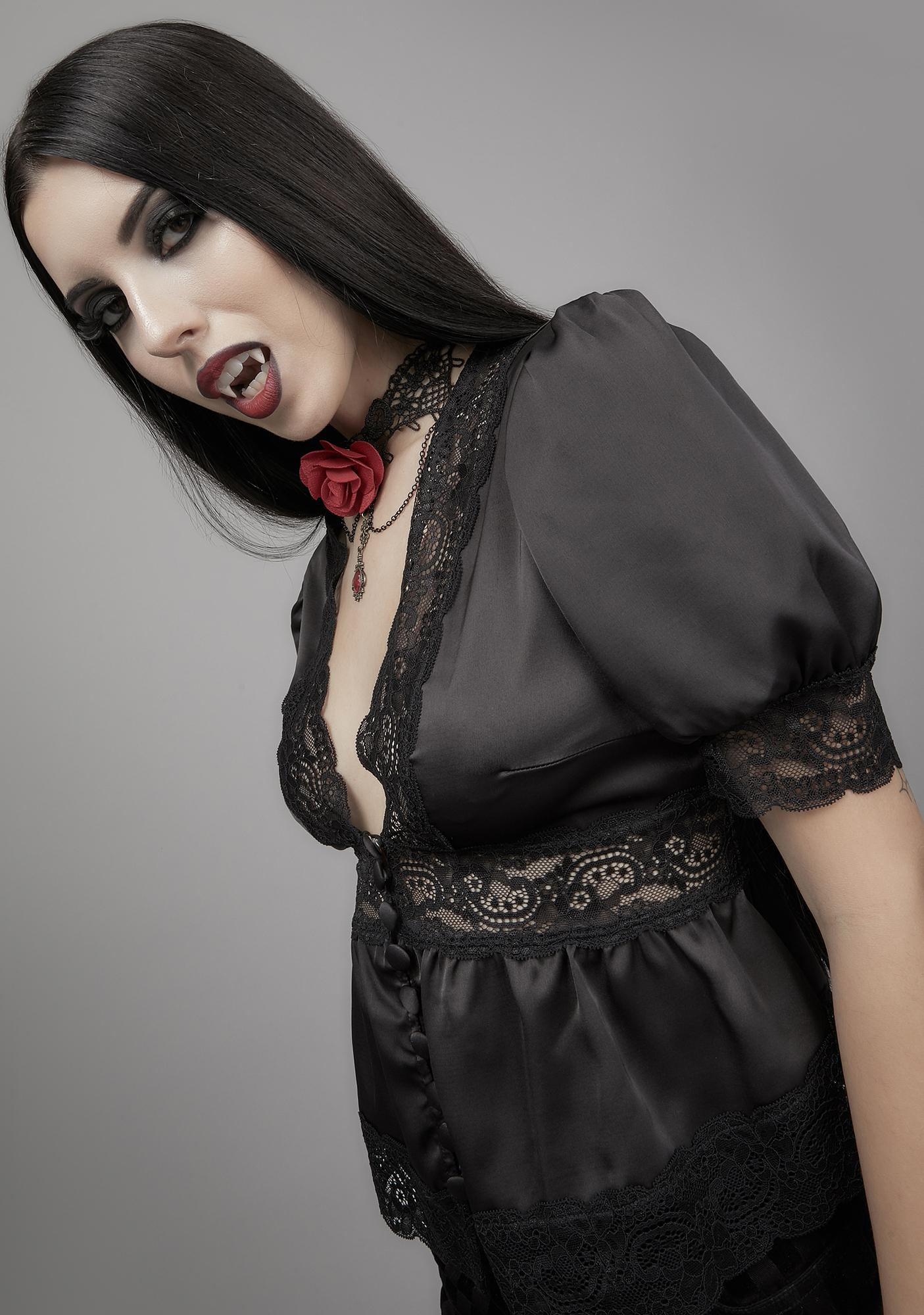 Widow Ghosts Of The Past Satin Blouse