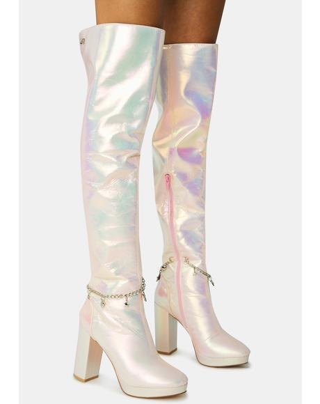 Pink Fairy Star Thigh High Boots