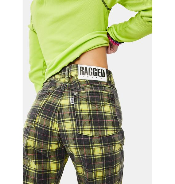 The Ragged Priest Caddie Lime Check Mom Jeans