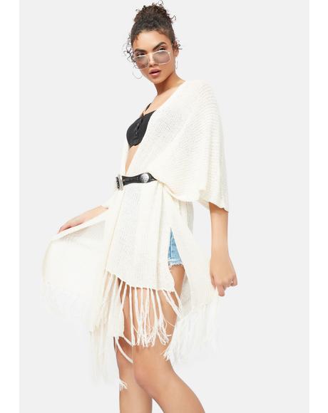 Sand Desert Daze Fringe Knit Kimono