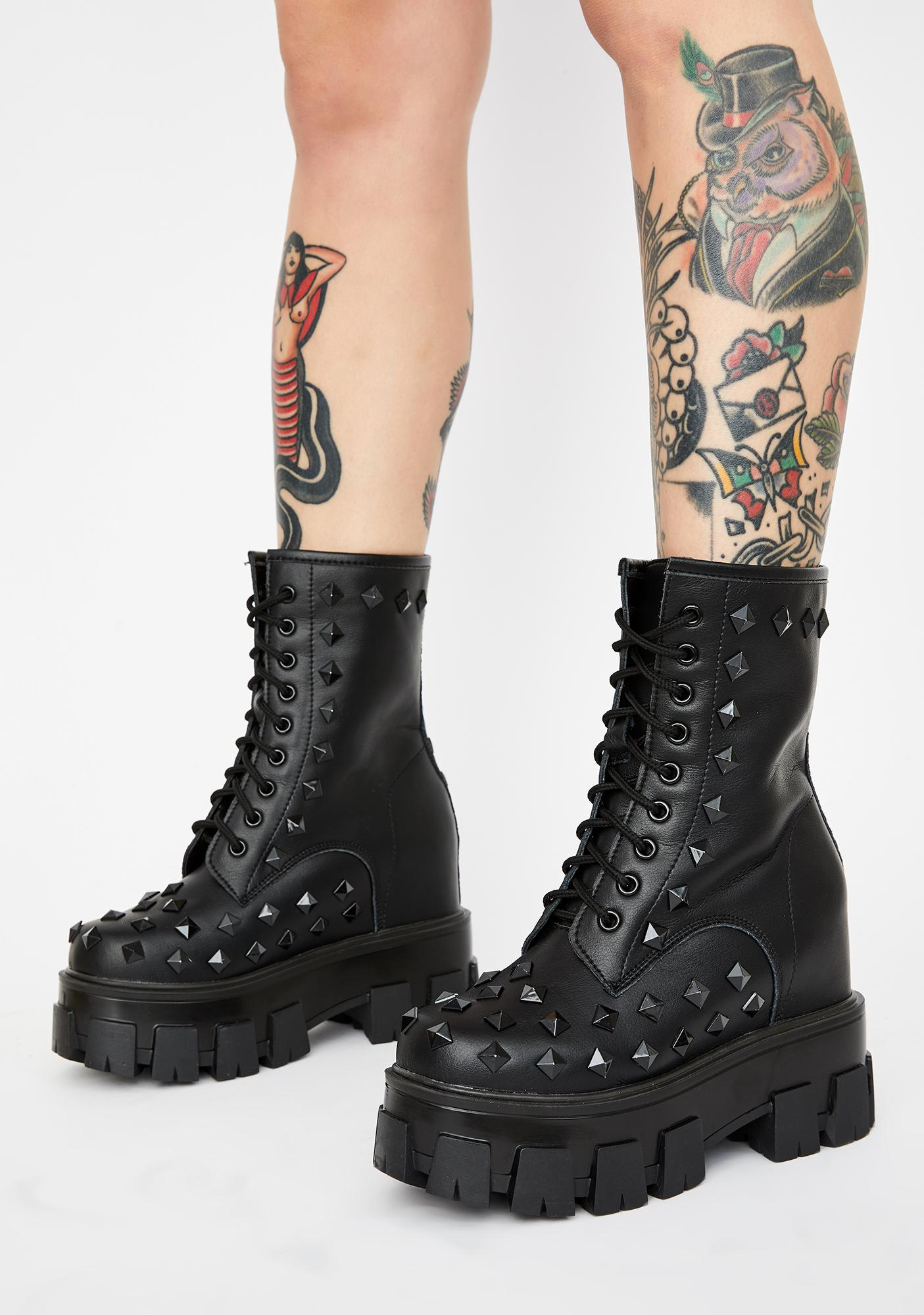 Studded Wedge Chunky Platform Boots