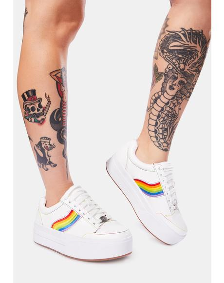 Snowball Fight Rainbow Stripe Platform Sneakers