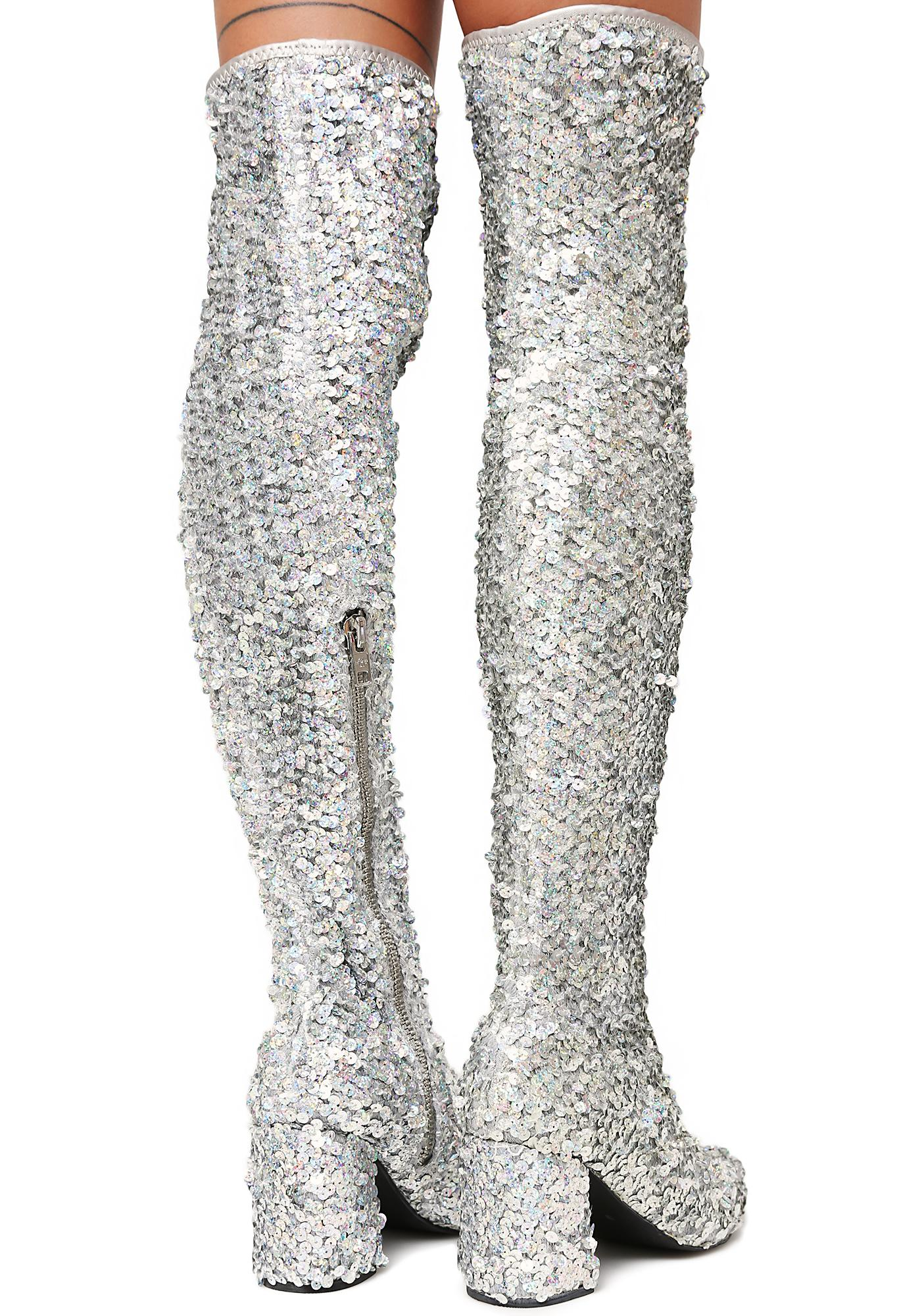 Current Mood Sparkler Thigh High Boots