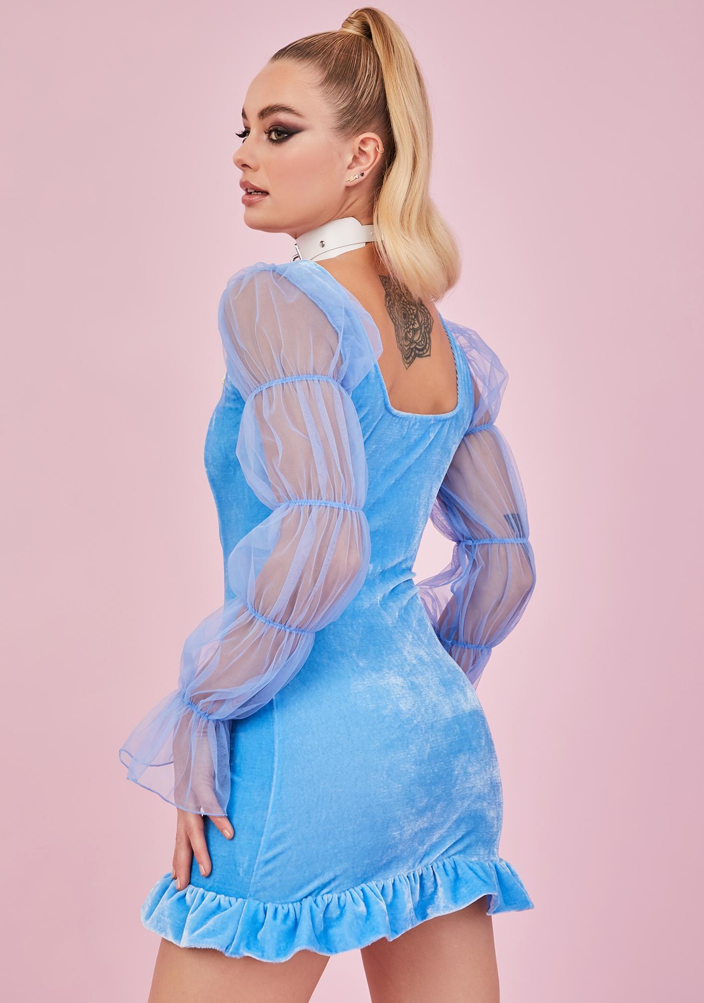 Sugar Thrillz Sky Soft Spirit Velvet Mini Dress