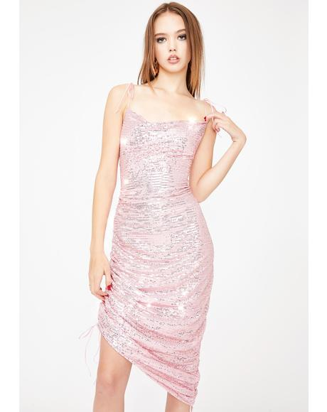 Pink String Along Ruched Mini Dress