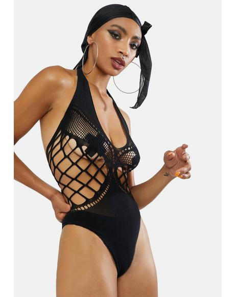 In Your Dreams Fishnet Halter Teddy