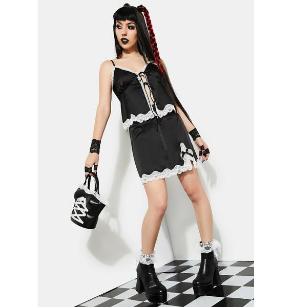 Current Mood Hot As The Devil Satin Mini Skirt