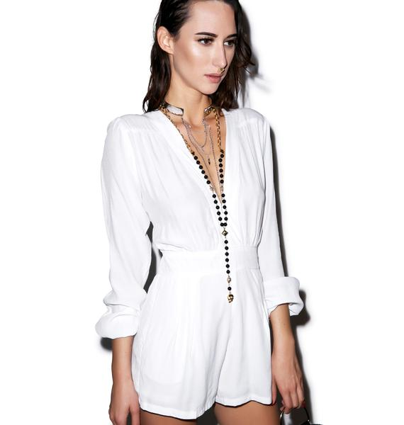 Motel Jet Plunge Neck Playsuit