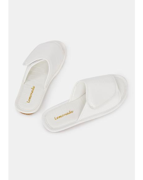 White Let'z Go Velcro Slides