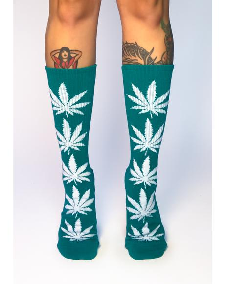 Green Plantlife Crew Socks