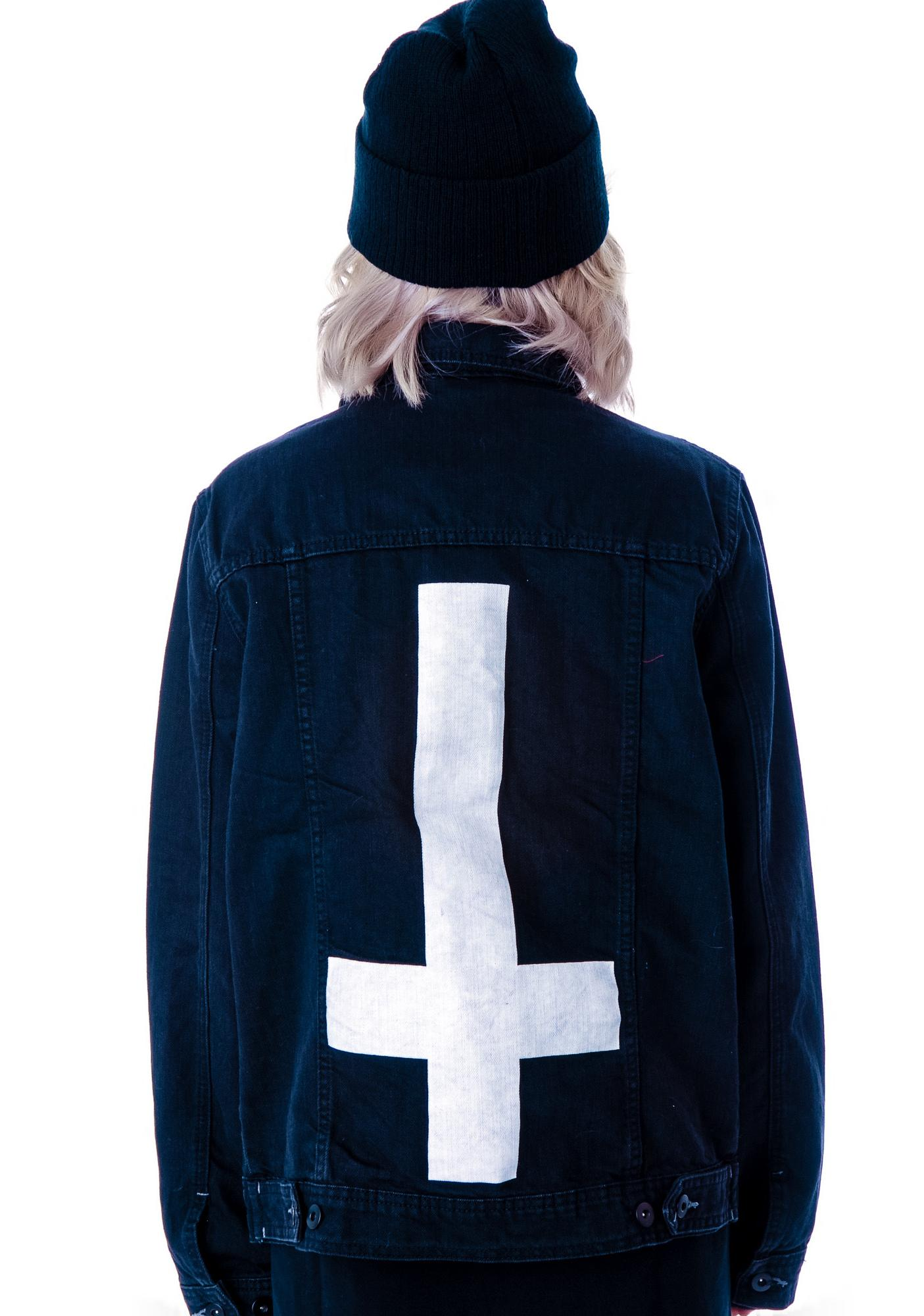 Abandon Ship Apparel Inverted Cross Denim Jacket
