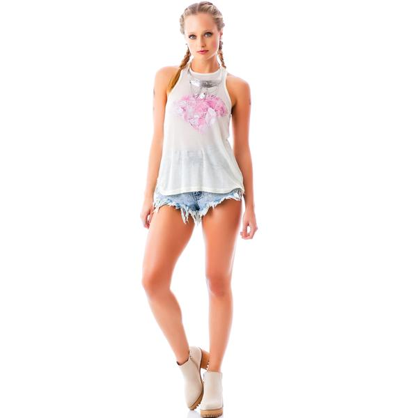 Wildfox Couture Pink Diamond Thin Rib Island Tank