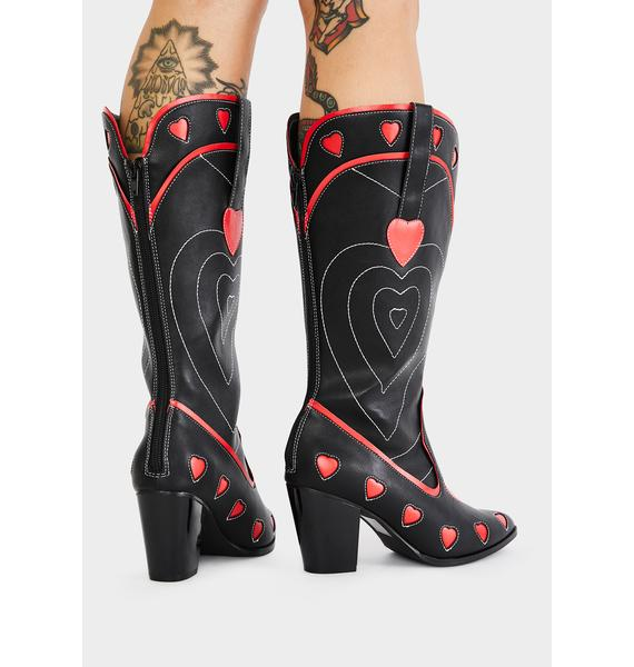 Y.R.U. Black Heart Space Cowgirl Boots