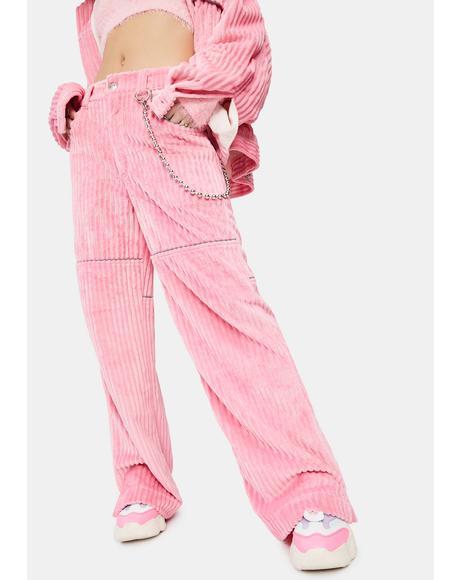 Pink Corduroy Wide Leg Pants