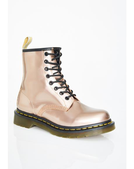 Rose Gold 1460 Vegan Chrome Boots