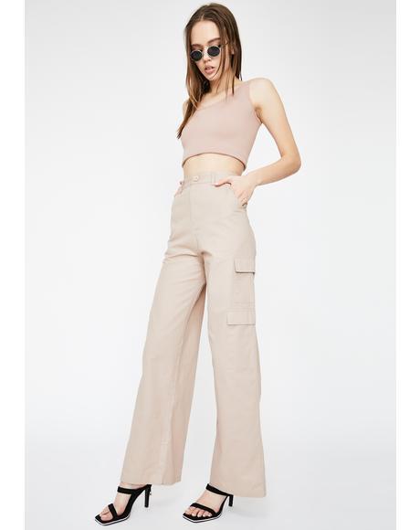 Cargo Pocket Wide Leg Pants