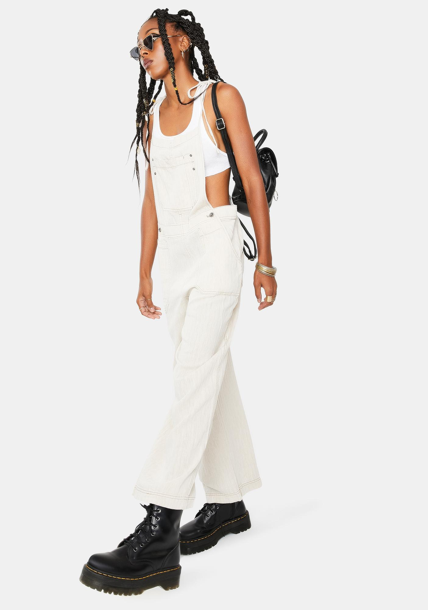 Free People Natural Sights Linen Jumpsuit