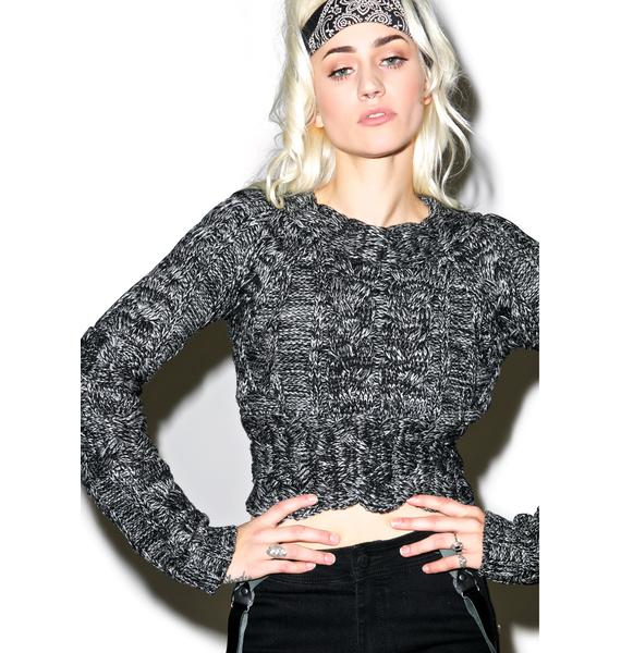 For Love & Lemons Heather Braided Cable Crop Top