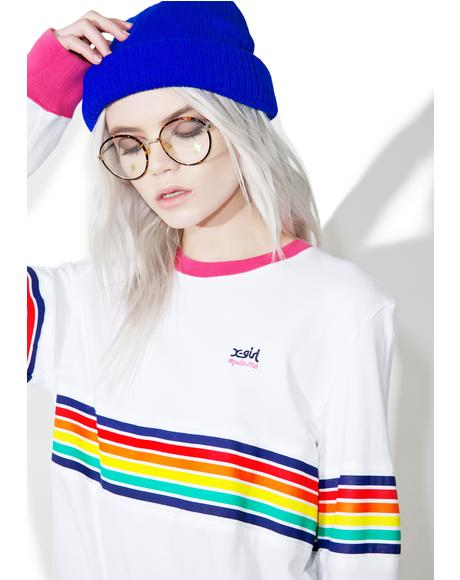 x X-Girl Multistripe Longsleeve Tee