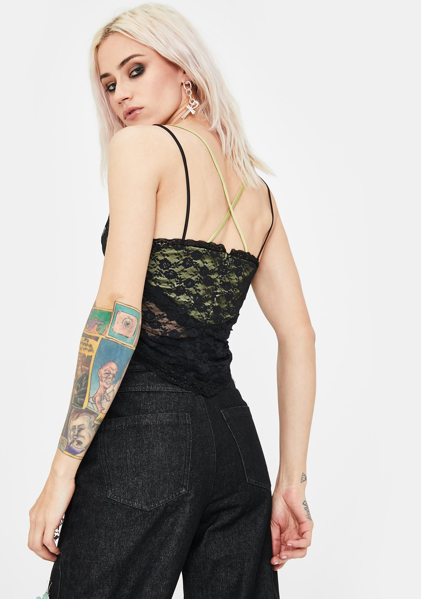 No Dress Black Lace Camisole Top