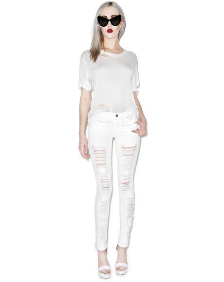 White Lines Spray On Skinny Jeans