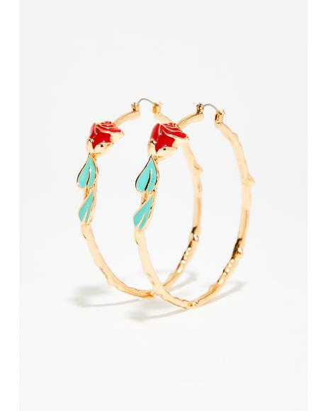 Like A Rose Hoop Earrings