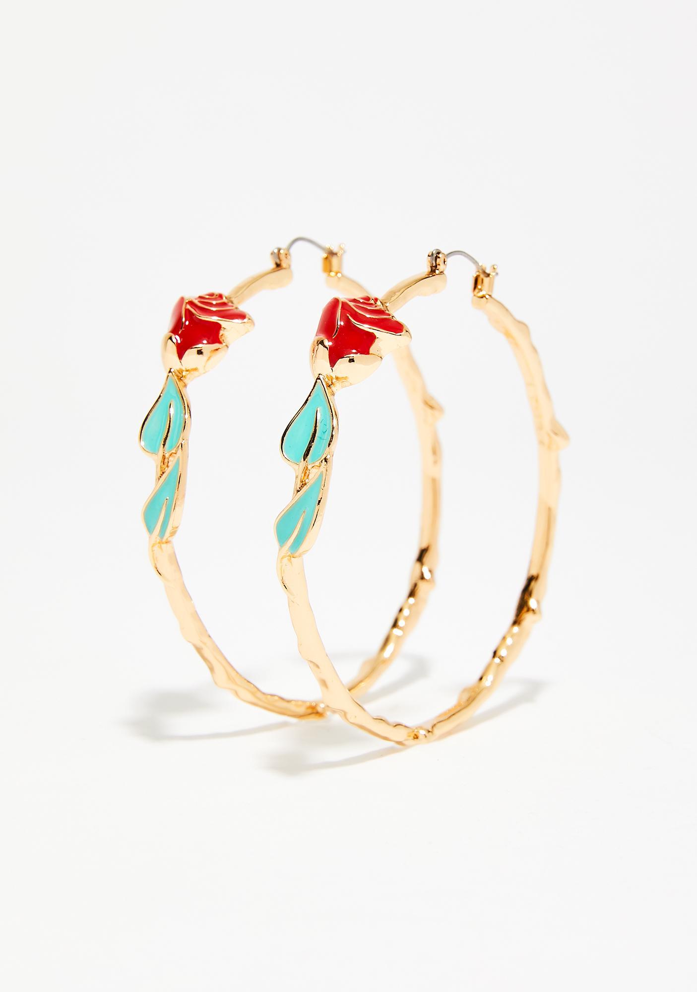 Like A Rose Hoop Earrings