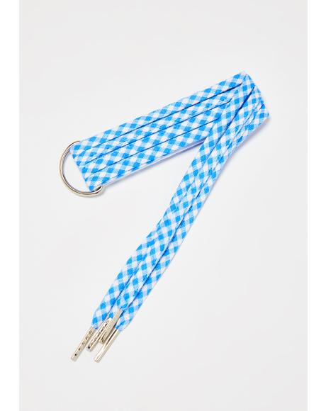 Dorothy Blue Checkered Shoelaces