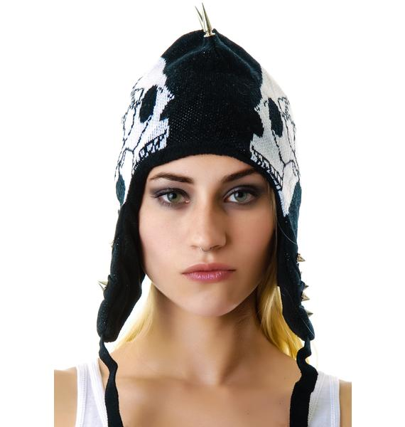 Too Fast Skull Spiked Trapper Hat