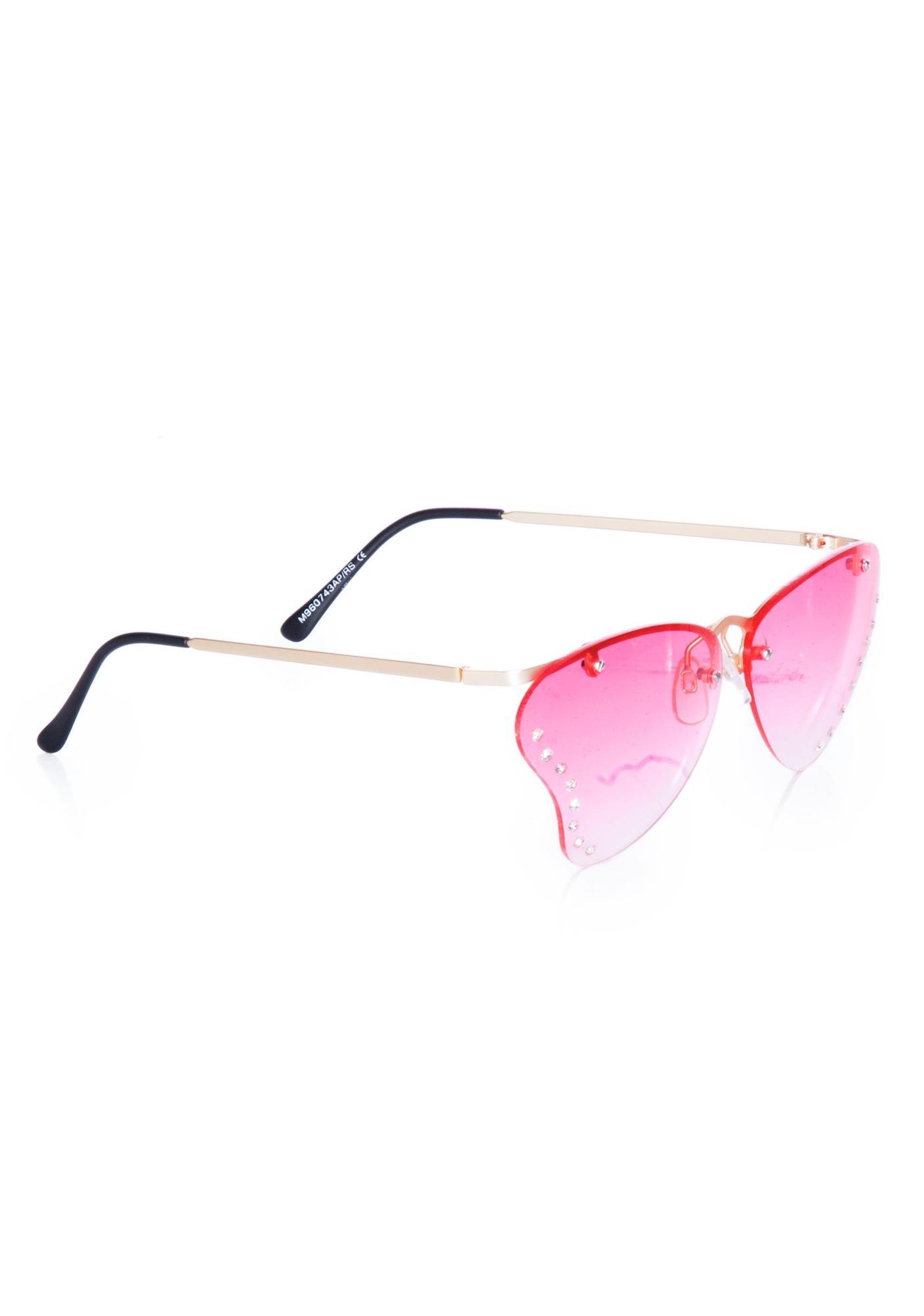 Peekabooda Pink Butterfly Vintage Deadstock Sunglasses