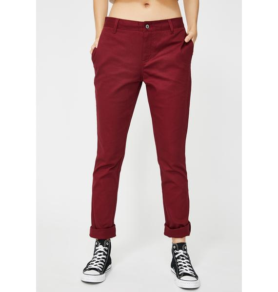 Dickies Girl Burgundy Original Skinny Leg Everyday Pant