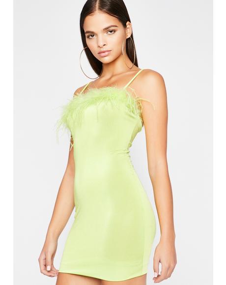 Green Eyed Monster Marabou Dress