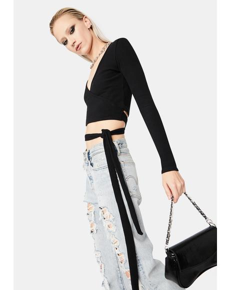 Dark Can Only Imagine Wrap Crop Top