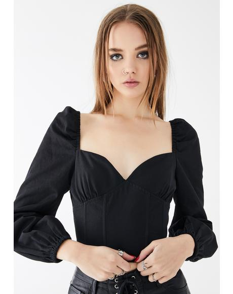 Long Sleeve Puff Corset Top