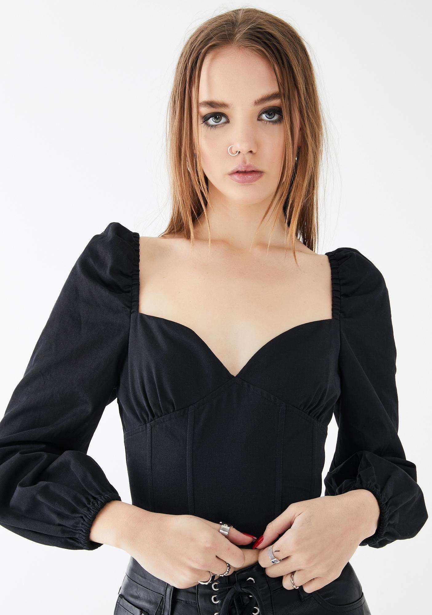 Glamorous Long Sleeve Puff Corset Top